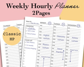 Classic Happy Planner Weekly Hourly Schedule, Weekly Hourly Planner Printable, Undated Week at a Glance Template, Weekly Planner Inserts PDF