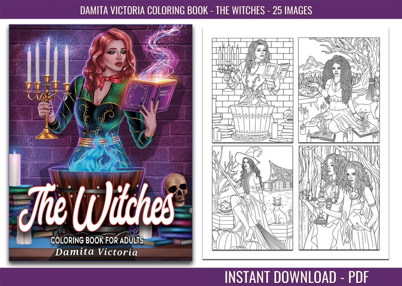 The Witches  Coloring for Adults Relaxation Featuring Witches image 0