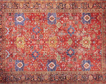 Office Rug 4.9x8.8ft Oriental Rug Beige Turkish Rug Antique Rug Bedroom Rug Green Oushak Rug Livingroom Rug Beige Area Rug