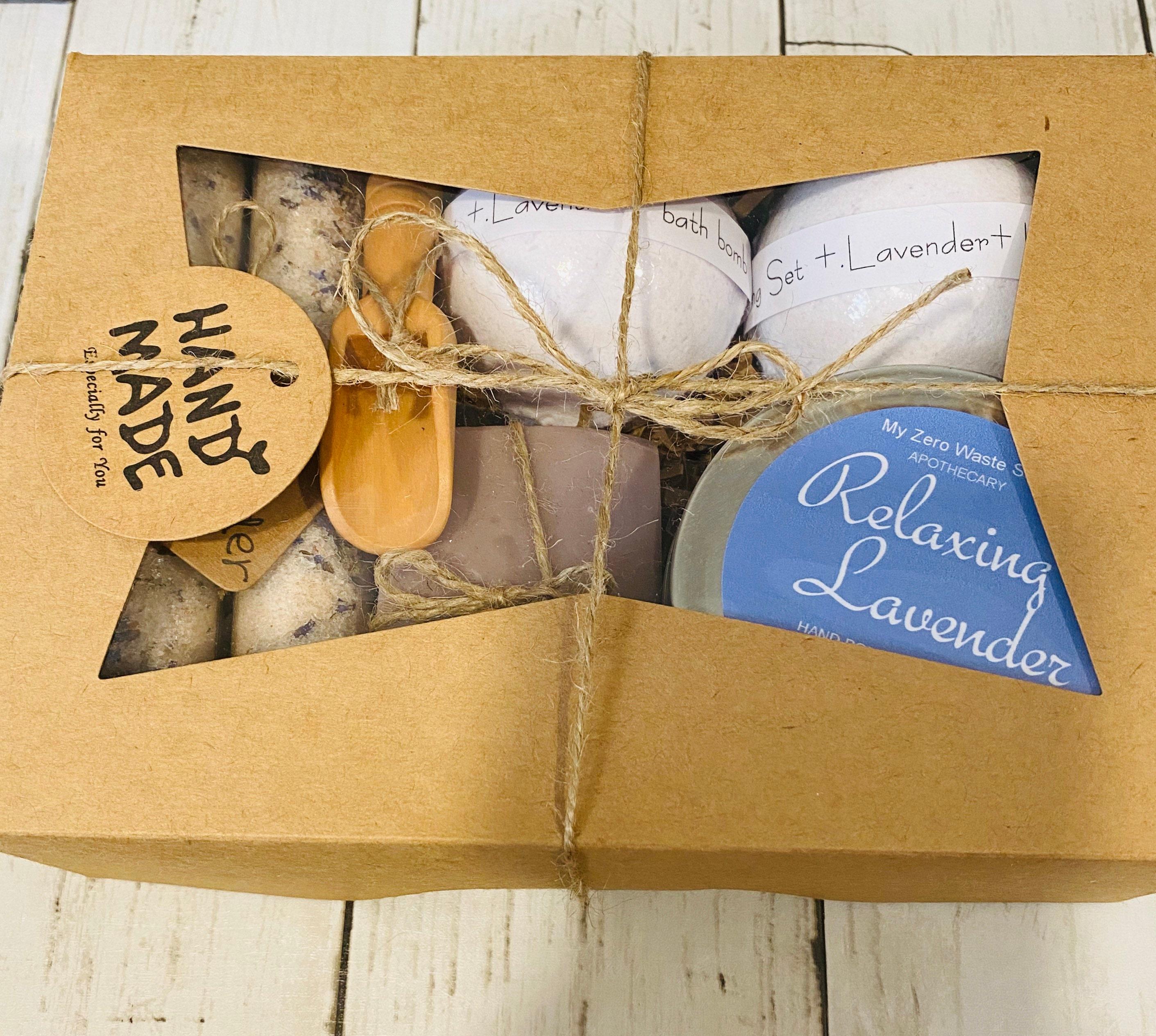 Organic Spa Gift Set Handmade Spa Set Bath Bombs Organic Bath Soak And Salts Organic Lavender Bar Soap Relaxing Lavender Soy Candle