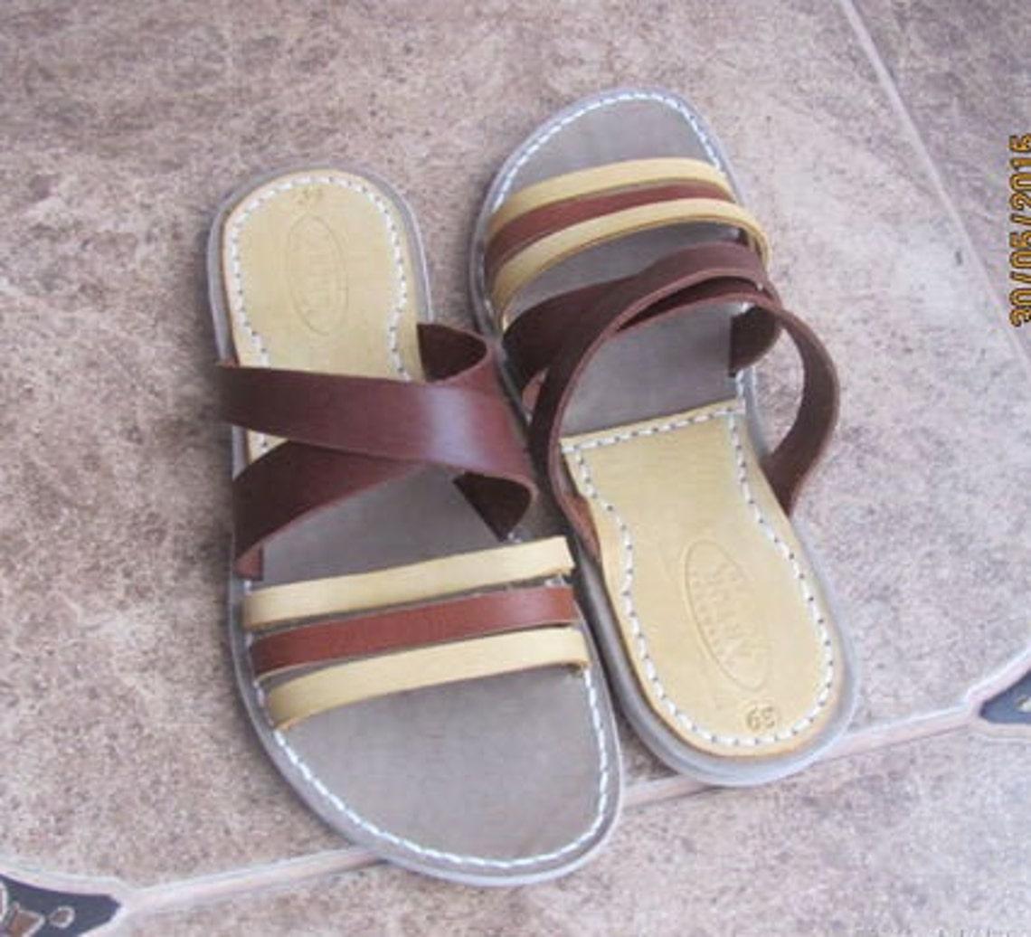 MAYA leather slide sandals