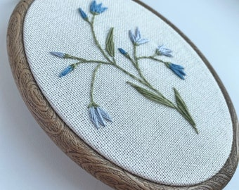 idea for plant lover gift hand embroidered blue flowers in vintage style Finished embroidery hoop art