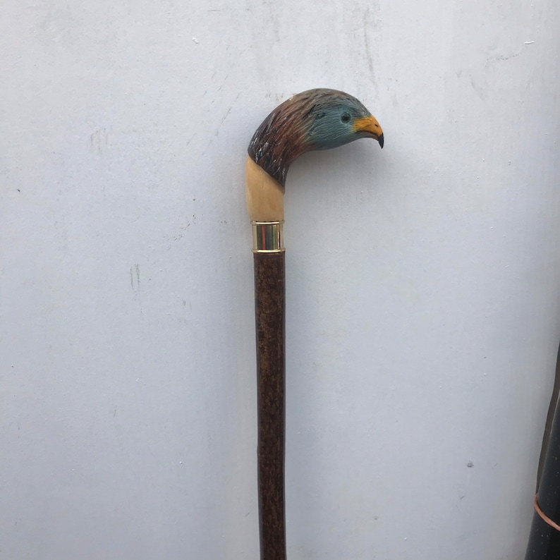 Hand carved Red Kite walking stick