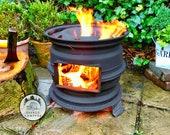 Handmade Upcycled Steel Wheel Log Burner Fire Pit BBQ Chiminea Present Gift Birthday