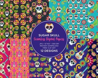 Sugar Skull Digital Paper, Dia de los Muertos, Day of the dead pattern seamless, Digital Scrapbooking Paper, for invitations, for fabric