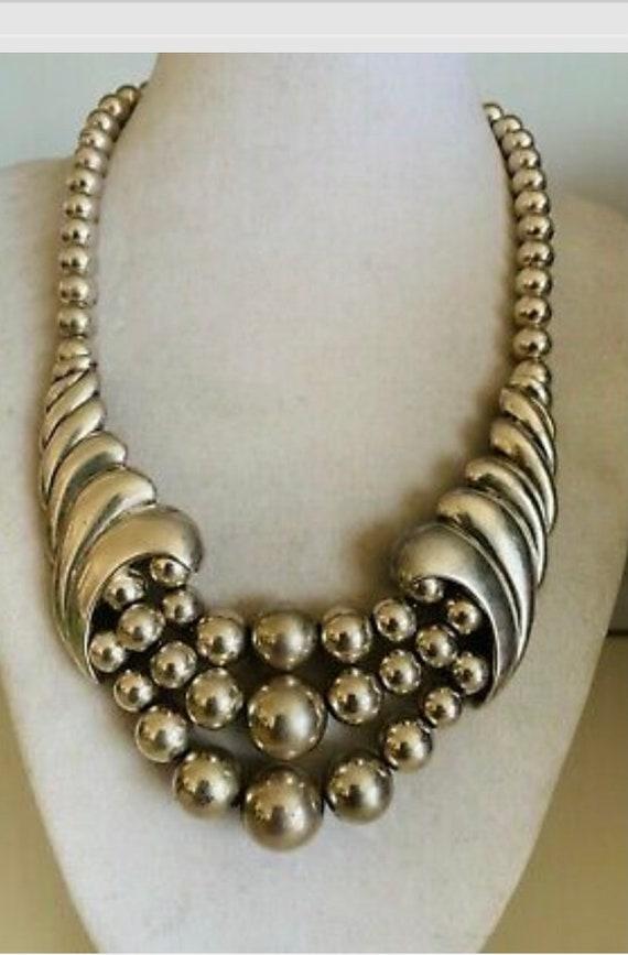 3-Piece Set Earrings 3-Strand Necklace Bracelet Vintage Hob\u00e9 Black Dimpled Bead and Metallic Parure Rhinestone Surrounds 1950s 1887