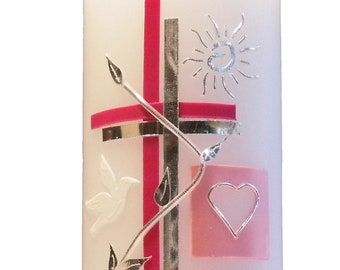 Baptismal candle Lara with two-tone cross, flower vine, sun and two tiles
