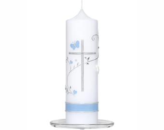 Baptismal candle Lina with silver cross, flower tendril and dove with glass plate
