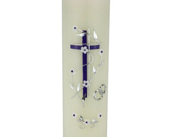 Wedding candle Prague with two-tone cross and tendril of flowers