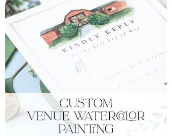 Custom Watercolor Wedding Venue Painting   Venue Painting   Wedding Venue Art   Wedding Venue Invitation   Wedding Keepsake   Wedding Gift