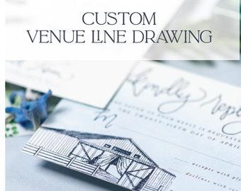 Wedding Venue Line Drawing   8x10   Custom Venue Illustration   Digital Venue Drawing   Venue Drawing
