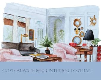 Custom Watercolor Interior Painting   Interior Decorating Art   Housewarming Gift   Room Painting   Watercolor Art on Handmade Paper