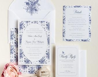 Blue and White Wedding Invitation   Grandmillennial Wedding Invitation   Chinoiserie Inspired Invitation   Garden Wedding Invite