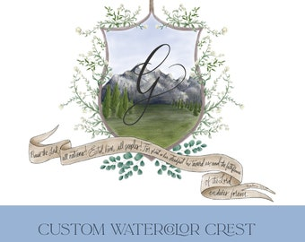 Watercolor Crest   Wedding Crest   Family Heraldry   Crest for Wedding Invitation   Custom Family Crest