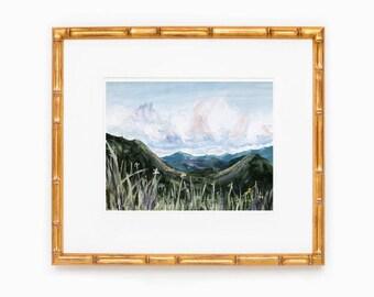 Watercolor Mountain Painting   Mountain Art Print   Blue Ridge Mountains in Spring   Mountain Wall Decor   Spring Art Print