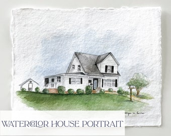 Watercolor House Painting   House Portrait   Home Sweet Home   First Home   Childhood Home   Watercolor House Painting