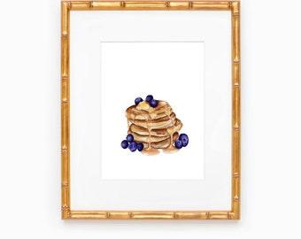 Pancakes For Breakfast   Breakfast Art   Kitchen Wall Decor   Pancake Painting   Blueberry Pancake Art