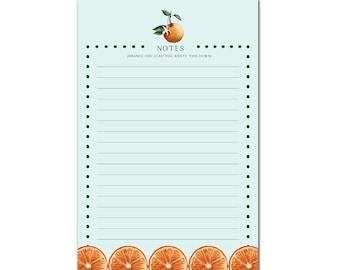 Watercolor Orange Notepad   Cute Notepad   Citrus Writing Pad   Illustrated Citrus Notepad   Desk Stationery   Citrus Stationery