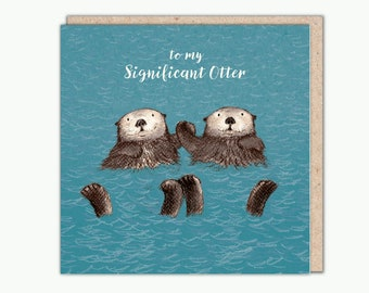 Significant Otter greetings card by Una Joy