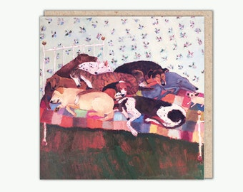 Ten On The Bed greeting card by Vanessa Cooper