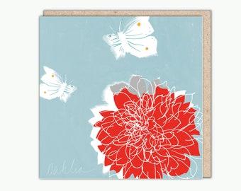 Dahlia greetings card by Helen Minns