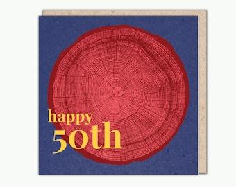 50 Tree Rings greeting card by Ed Hepworth