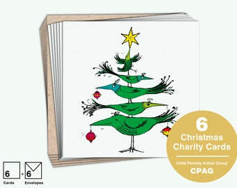 Christmas Charity Card Packs, Incredible Tree of Birds by Una Joy for Child Poverty Action Group