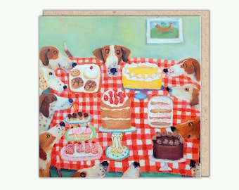 Let Them Eat Cake greeting card by Vanessa Cooper.