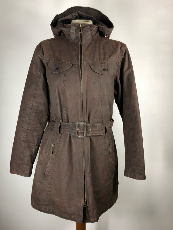 Brown waxed Barbour jacket with Unisex UK14 belt -