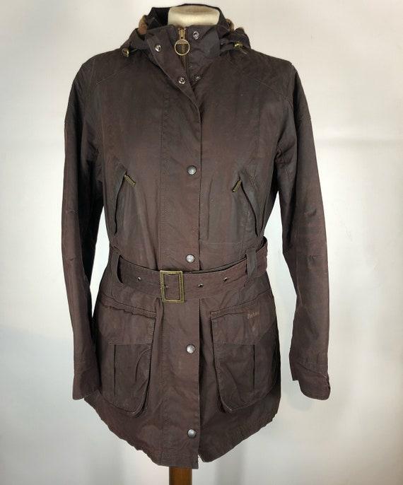 Rebel dark brown Barbour jacket with UK14 belt Siz