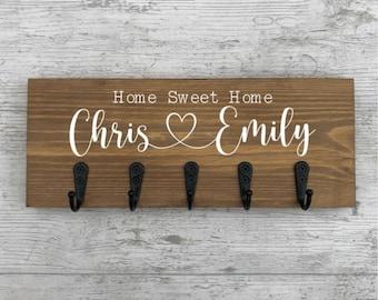 Personalised Key Holder, Wooden Key Hook, Wood Key Hanger, Home Decor, House Warming Gift, New Home Gift, Keyring, Key Holder For Wall, Sign