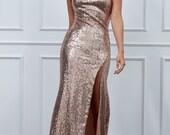 Goddiva One Shoulder Sequin Maxi Dress - Champagne
