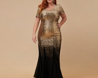 Plus Sequin & Chiffon Maxi Dress - Black gold, Perfect prom dress, Evening dress, Bridesmaid dress