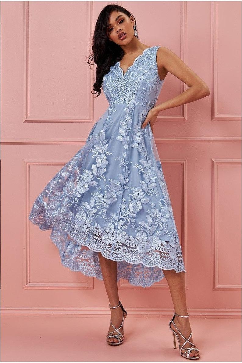 Goddiva Scalloped Neck Lace Midi Dress Pale Blue image 0