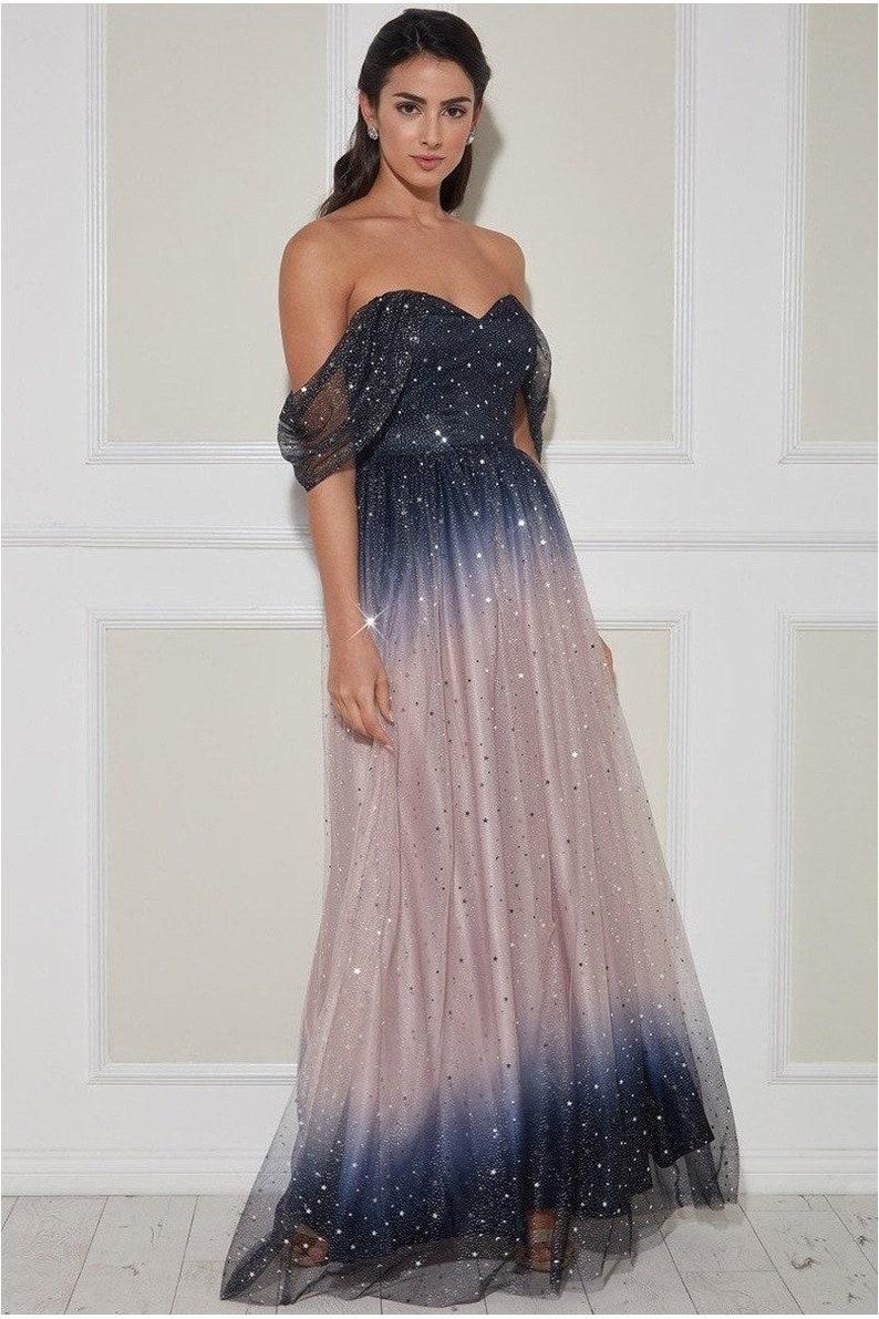 Goddiva Ombre Shoulder Wing Maxi Dress Blush image 0