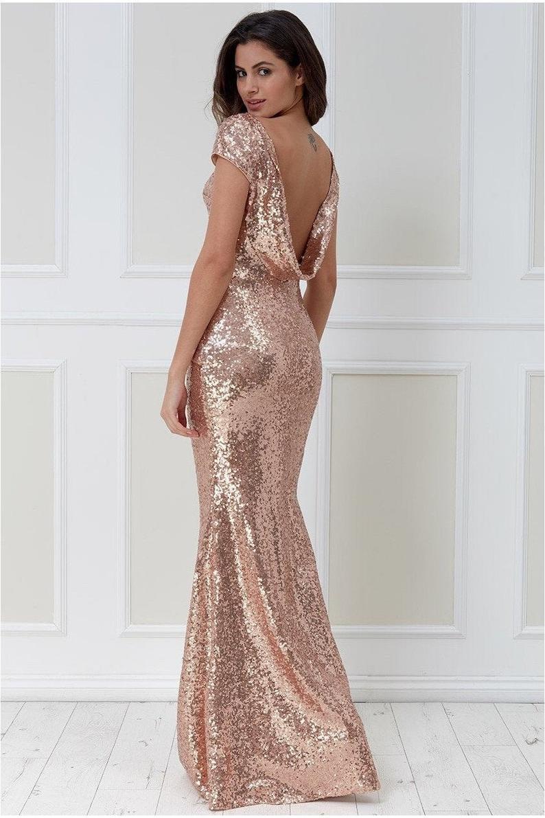 Open Back Sequin Maxi Dress Champagne Bridesmaid dress image 0