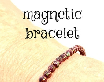 Magnetic Therapy Purple Bracelet, Dainty Hematite Bracelet, Birthday Gift, use bracelet for pain control, arthritis, energy, grounding,