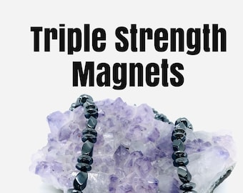 Triple strength magnetic Hematite Black Bead necklace, Use for arthritis, headaches, migraine and stiff shoulders, Mens Gift, dad gift