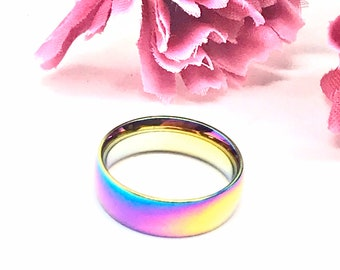 Pride Rings. LGBTQ Rings, Rainbow Hematite Rings, Crystal Hematite Gemstone, Holographic Ring, Wedding Ring, Engagement, Positive Energy