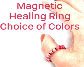 Arthritis Ring, Healing Ring, Hematite Finger Bead Rings, Magnetic Bead Toe Rings, Use for pain control.  Healing Stackable Rings, unisex