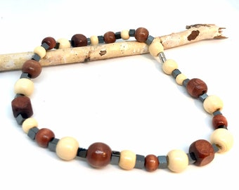 Wood Bead Necklace, magnetic necklace, gift for men, arthritis necklace, boho hippie necklace, anti-stress necklace, positive energy