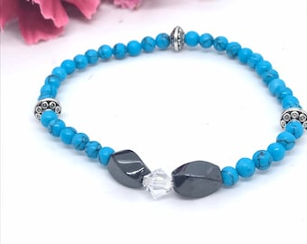 Magnetic Bracelet, Blue Turquoise Beads, Therapeutic magnetic beads for arthritis and pain control of hands and fingers, crystal bracelet