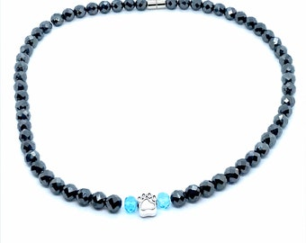 Magnetic Therapy Pet Collar with pet paw charm for your dog or cat, healing magnetic therapy beads for arthritis, blue crystal beads