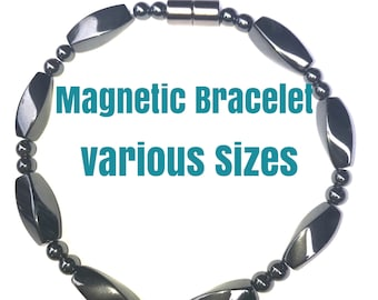 Magnet Hematite Bracelet Magnetic Therapy Bracelet Hematite Magnetic Bracelet Black Beads Unisex Bracelet or Anklet use for pain control
