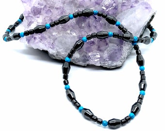 Magnetic Hematite Necklace, Turquoise Gemstones, Ideal Gift for Men or women, Arthritis Necklace, Necklace for Shoulder and Neck Pain,