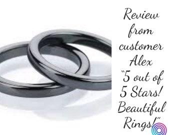 2 Magnetic Solid Gemstone Rings, ring for men, ring for women, black ring band, solid crystal ring, ring for arthritis, ring for grounding