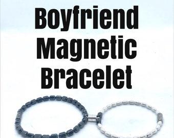 Boyfriend Bracelet, magnetic bracelet, Friendship Bracelet, Lovers Bracelet, Magnetic Hematite Beads, Magnetic Clasp, Christmas Gift