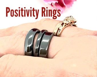 Black Hematite Ring, Ssize 5, 6, 7, 9, 10, 11, 12 Dome, Flat or Thin Ring. Absorb Negative Energy, Gemstone band, positive energy stackable