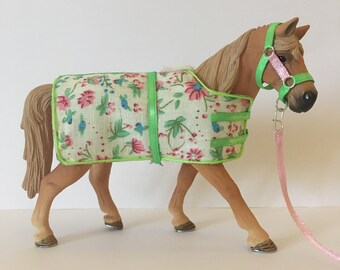 Schleich stable set - green and pink floral - schleich horse tack