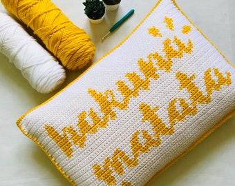 Hakuna Matata Pillow Cover Crochet Pattern, Crochet Pillow Cover, Tapestry Crochet, Home Decor